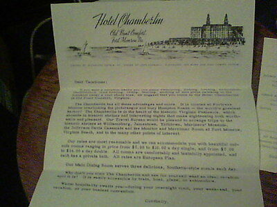 1953 letter, flyer from Hotel Chamberlin Fort Monroe, VA, to author Jane Geddes