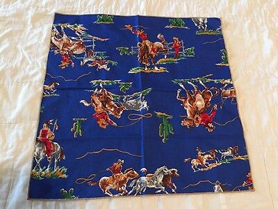 Child's Vintage Bandana Handkerchief Cowboys and Indians Roping Horses