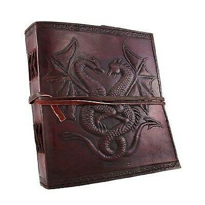 Vintage Dual Dragons Leather Blank Book Diary Journal 240 Pages