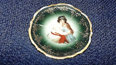 "Antique Portrait Mother Child Miniature Butter Pat 3"" plate Leuchtenburg Germany"
