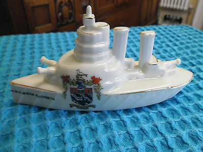 Crested China Arcadian Battleship Queen Elizabeth  Torquay Crest  Military Ww1