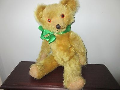 Vintage American Teddy Bear 1940's 17 inches tall Gold Mohair