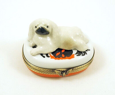 New Hand Painted Authentic French Limoges Box Pekingese Dog Puppy