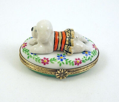 New French Limoges Box Bichon Frise Dog Puppy In Cute Dress On Colorful Flowers
