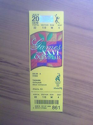 Ticket Olympic Games ATLANTA 20.07.1996 VOLLEYBALL (7.30 PM)