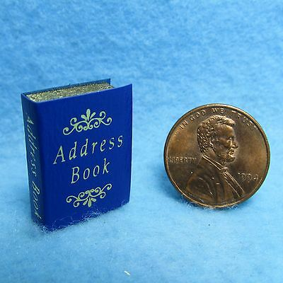 Dollhouse Miniature Address Book with Pages in Blue ~ 3500B
