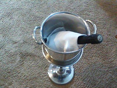 Vintage Antique Silver Champagne Ice Bucket & Stand, Used In Fine Hotels