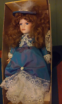 "Victorian Porcelain Doll With Stand 16"" Tall"