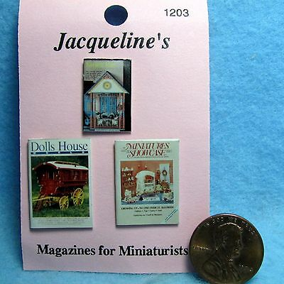 Dollhouse Miniature 3 Magazines for Miniaturists Printed Cover & Back ~ 1203