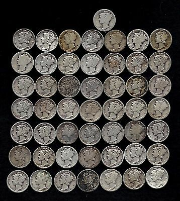 """ROLL OF MERCURY DIMES (50) 90% Silver  """"DAMAGED AND WORN""""  LOT F35"""
