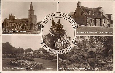Scarce Old 4 Different View Postcard - Dunfermline - Fife 1941