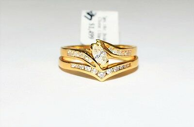 18K Yellow Gold Marquise 0.70ct Diamond 2x Ring Bridal Set Michael Hill #738821