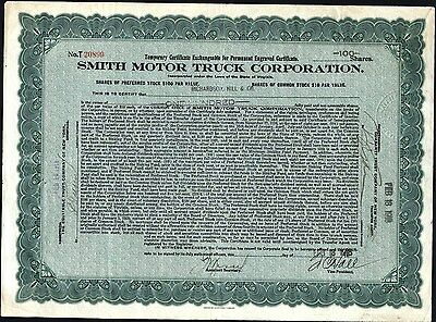 Smith Motor Truck Corporation, 1918, Temporary Stock Certificate