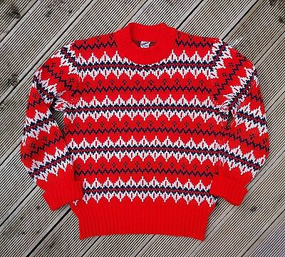 Vintage 60/70s Fair Isle Style Red Jumper Size M NORDIC INDIE GRUNGE Sweater