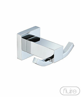 Robe Towel Hook Double Modern Chrome Square Design Solid Brass Bathroom New Rack