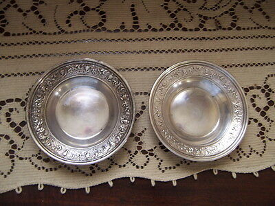 antique Sterling Silver Small Dish fancy edge pretty 2 together 3 1/2 inch 40 gr