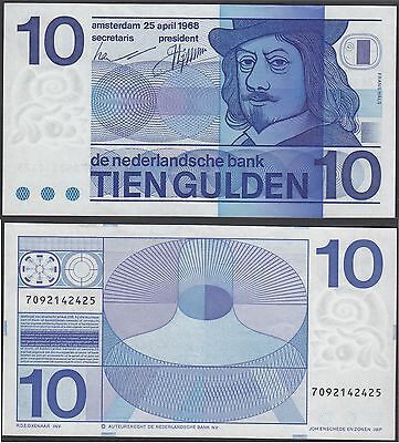 Netherlands 10 Gulden, 1968, P-91, choice Au