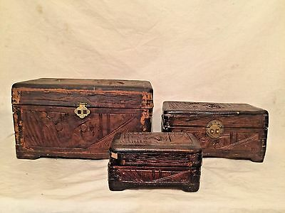 Antique / Vintage Camphor Wood Chest Hand Carved - Set of Three