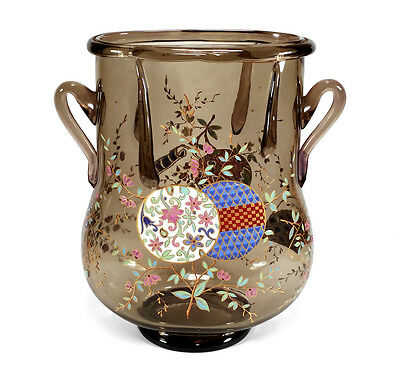 Antique Auguste Jean French Enameled Art Glass Vase Japanese Style Decoration