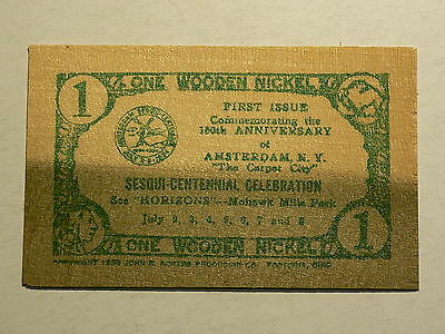 United States, 1954 Wooden Nickel Note, Amsterdam Sesqui-Centennial # 3094