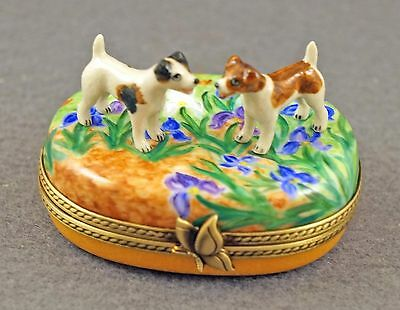 New French Limoges Box Cute Jack Russell Terrier Dog Puppies On Iris Flowers