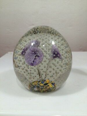 Art Glass Lavender Flower Paperweight With Controlled Bubbles