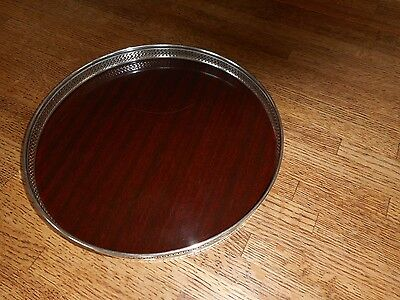 """Revere Sterling Silver & Picwood Formica Serving Tray 10"""" X 1 1/8"""" Tall"""