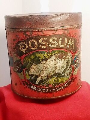 RARE POSSUM  RED 3 For 10c CIGAR TOBACCO TIN LITHO ADVERTISING CAN - Mid Grade