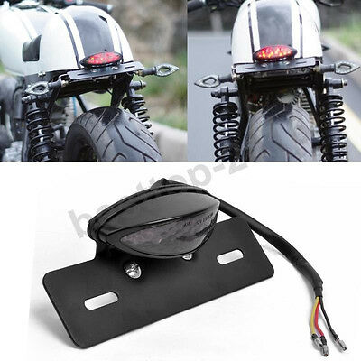 Motorcycle Rear Mount License Plate Led Brake Tail Light For Bobber Cafe Racer