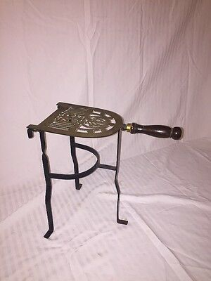 Wood Handle Brass And Iron Trivet