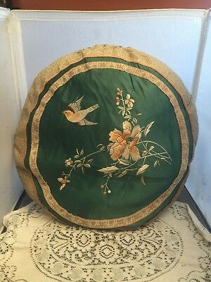 Antique Chinese Hand Embroidered Round Pillow Textile Silk Floral Silver Thread