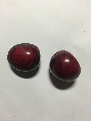 Vegetable Ivory Garnet Red Tagua Nut Wood Beads 2pc 30mm