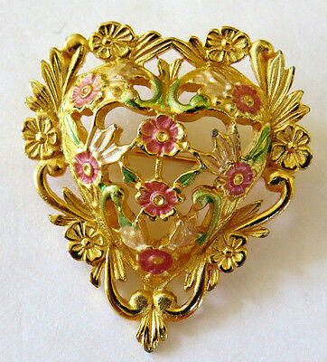Heart Lovers - Vintage  Pin --Gold Tone Metal & Floral Design