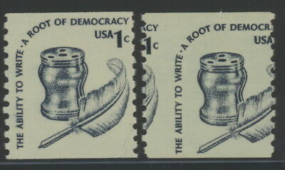 US 1811 normal & vert misperfed coil stamps - mnh 1 cent Root of Democracy EFO