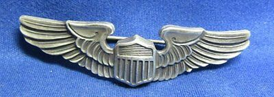 WWII Sterling Army Air Forces AAF Pilot 2 Inch Wings Badge