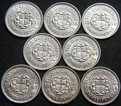 George VI 1937-1944 Silver Threepence High Grade Collection