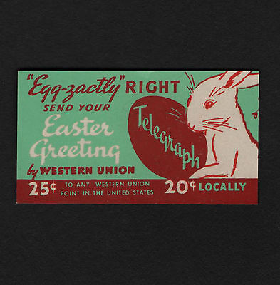 OPC Western Union Telegraph Egg-zactly Right send your Easter Greeting Label
