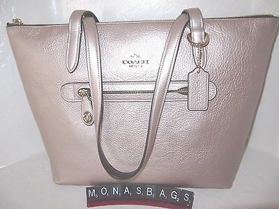 Coach Authentic New 38312 Taylor Tote Bag Platinum Pebble Leather NWT $275