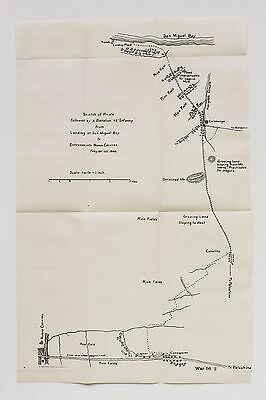 1899 Philippines San Miguel Bay Map 2nd Battalion 45th Infantry Route Calabanga