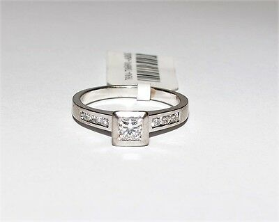 18k White Gold Princess 0.37ct H/SI Diamond Engagement Ring Solitaire #736691