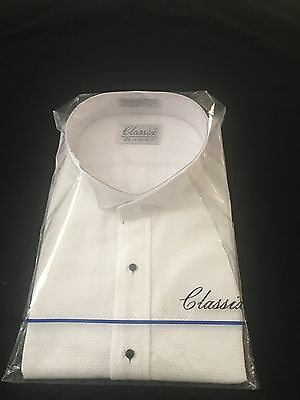 Men's Pique White Tuxedo Shirt (Small 14 -14 1/2 Inch Neck 32/33 Sleeve)