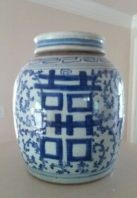 Antique Vintage  Blue and White Oriental Ginger Jar 8 Inchess Tall HS