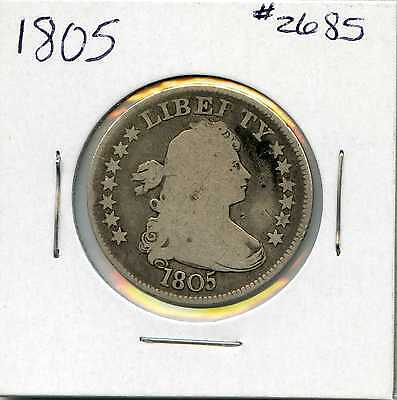 1805 25C Draped Bust Silver Quarter. Circulated. Lot #2459
