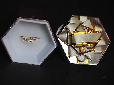 Fine 10k Solid Gold Zirconium Leaf Children Baby Kids Ring New in Box Sz 2.75 1