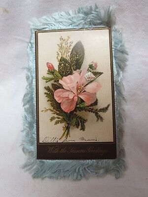 RARE 1890s Christmas Card w Blue Silk Fringe Blue Pink Flowers Bright New Year