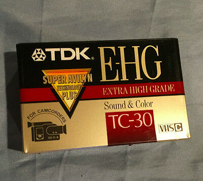 NEW ~ SEALED ~ 1 (ONE) TDK E-HG TC-30 Extra High Grade VHS-C Camcorder Tape