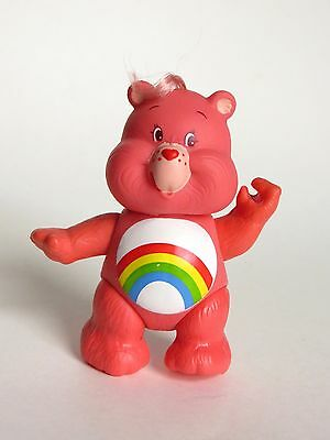 Vintage 1980's Pink Rainbow Cheer Care Bear Toy PVC Figure Poseable