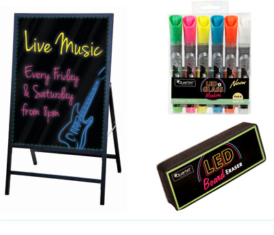 Quartet Led Board With Markers and Eraser