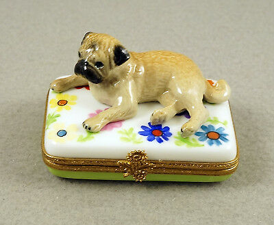 New Handpainted French Limoges Trinket Box Cute Pug Dog Puppy On Amazing Flowers