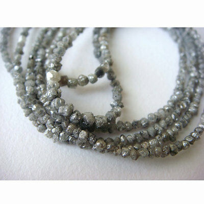 "Raw Conflict Free Rough Natural Rondelle Beads Grey Diamond 1.5mm-3mm 16"" SB10"